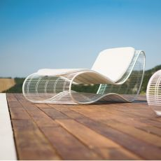 Breez - L - Design sunbed in metal, for outdoor