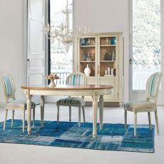 Apogeo 1126 - Table classique Tonin Casa en bois, différents coloris et piétements disponibles, 160 x 110 cm extensible