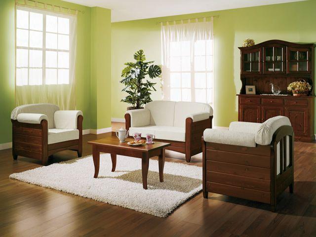 Lar8 divano divano rustico in legno con cuscini in for Divani rustici