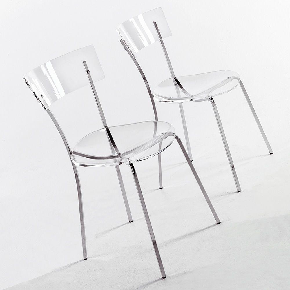 Ice silla moderna de colico design metal cromado y - Sillas de metacrilato transparente ...
