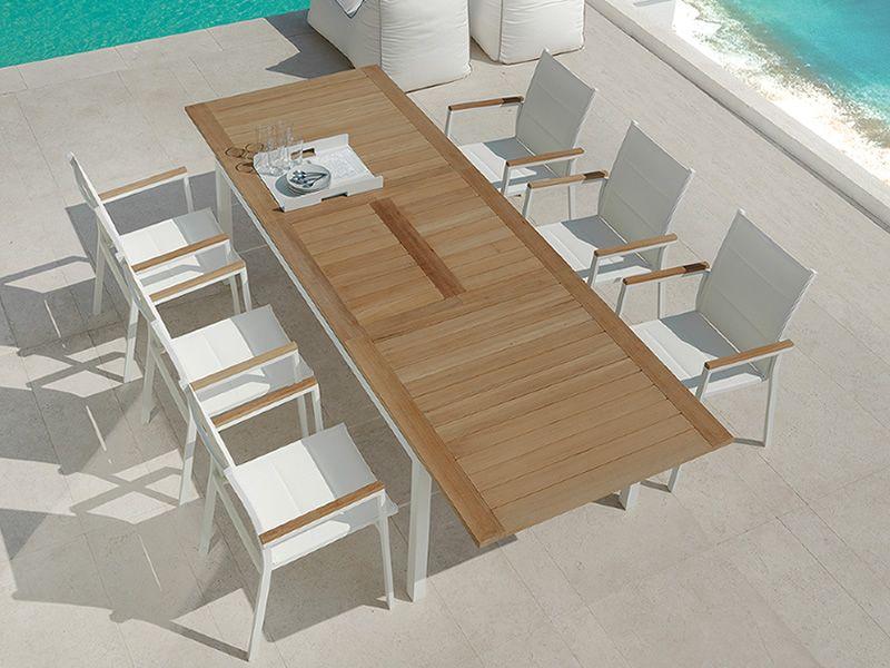 Timber t tavolo allungabile in alluminio e teak per giardino diverse misure sediarreda - Tavolo con sedie diverse ...