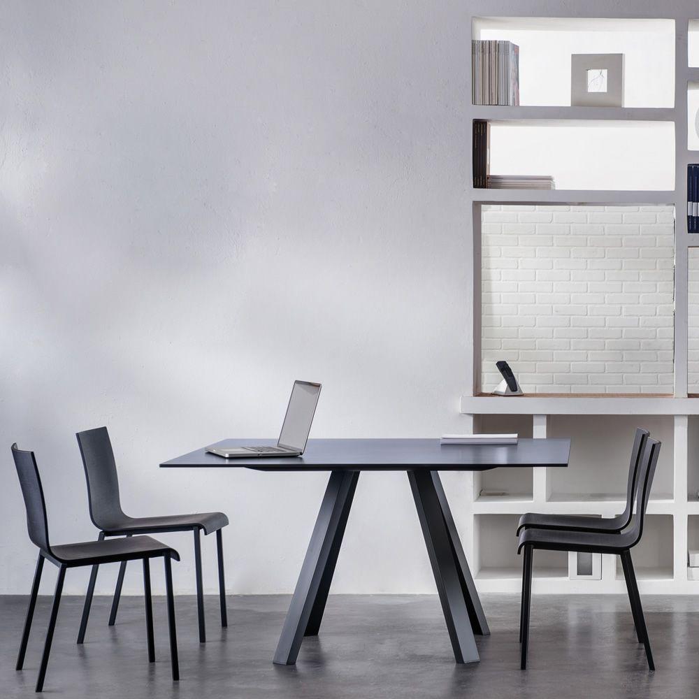arki table sr fester tisch viereckig oder rund aus metall mit kompaktplatte sediarreda. Black Bedroom Furniture Sets. Home Design Ideas