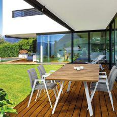 Alma - Tavolo in alluminio, piano in teak 240x100cm, per giardino