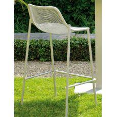 Round S - Sgabello Emu in metallo, per giardino, impilabile, altezza seduta 75cm