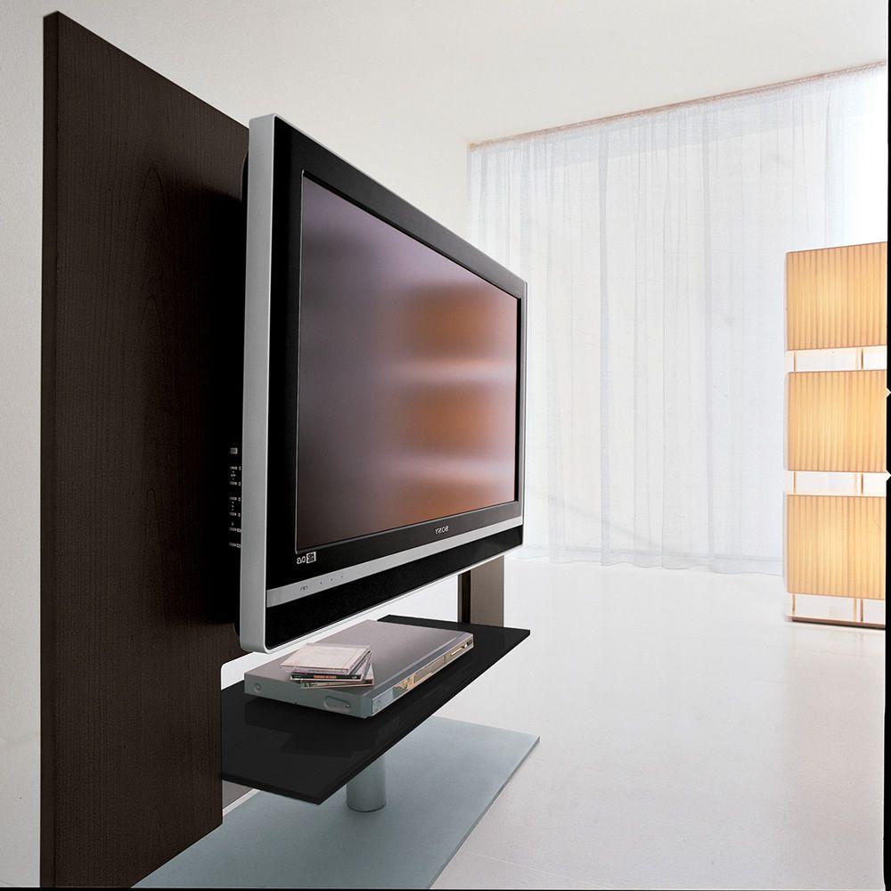 7094 verstellbares tv m bel tonin casa aus furnierholz und metall mit fach aus schwarzem glas. Black Bedroom Furniture Sets. Home Design Ideas