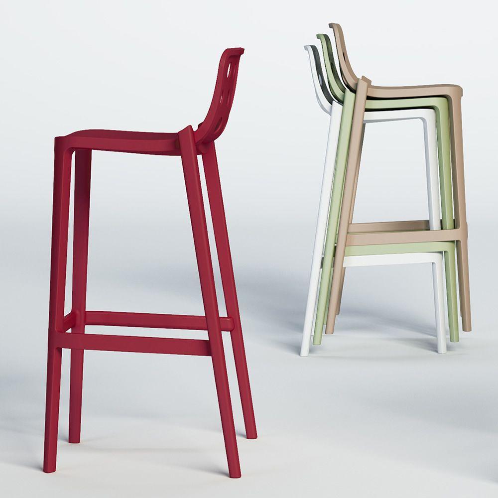 isidoro tabouret haut en m tal et polym re empilable altura asiento 66 ou 76 cm disponible. Black Bedroom Furniture Sets. Home Design Ideas