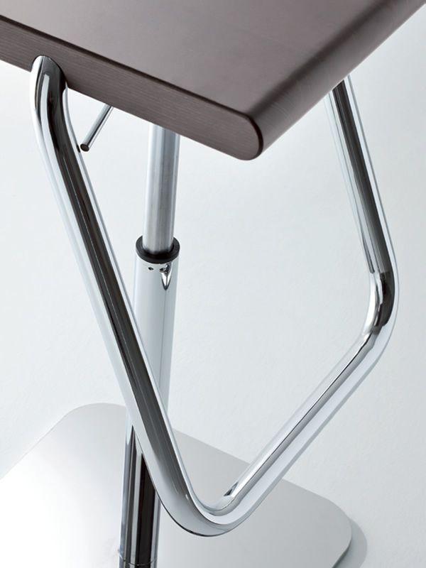 Joe - Sgabello in metallo con sedile in legno, girevole e ...