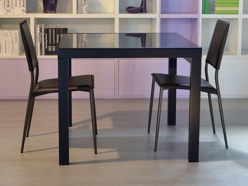 Kendy tavolo moderno in legno piano in vetro 90x90 cm for Tavolo nero allungabile