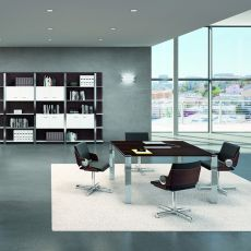 Office X7 Meet 01 - Boardroom table or large office desk, in metal and laminate, available in different dimensions and finishes