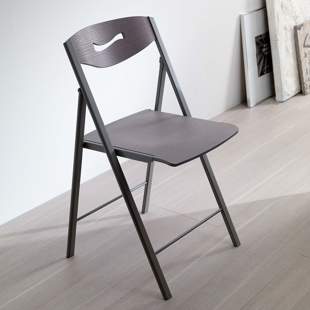 Beautiful Ripiego W Folding Chair In Opaque Graphite Varnished Metal Seat  In Wild Oak Ash With Modern Folding Chairs