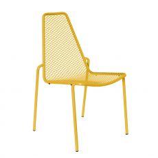 Rada - Sedia in metallo con o senza braccioli, impilabile, anche per giardino, disponibile in diversi colori