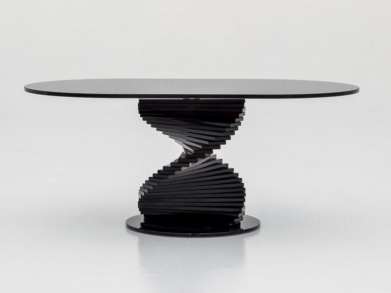 Ariel 6832 table basse tonin casa en verre plateau ovale - Table basse design ovale ...