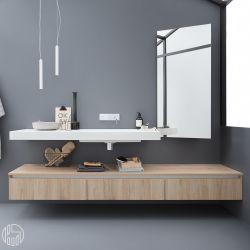 45 meuble de salle de bains comportant 1 plan de toilette avec vasque int gr - Plan de toilette bois ...
