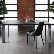 Genio - Table design de Bontempi Casa, 140(240)x90 cm, extensible, en aluminium, équipée de plateau en différents matériaux, disponible dans un large choix de couleurs