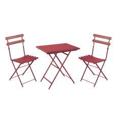 Arc en ciel Set - Set Emu, 2 sedie pieghevoli e tavolo rettangolare pieghevole, in metallo