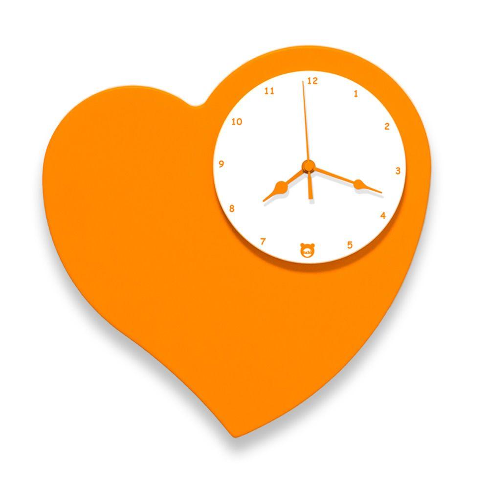 Amore | Orologio da parete in legno MDF laccato arancione