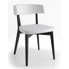 416 - Sedia in legno con seduta imbottita rivestita in similpelle