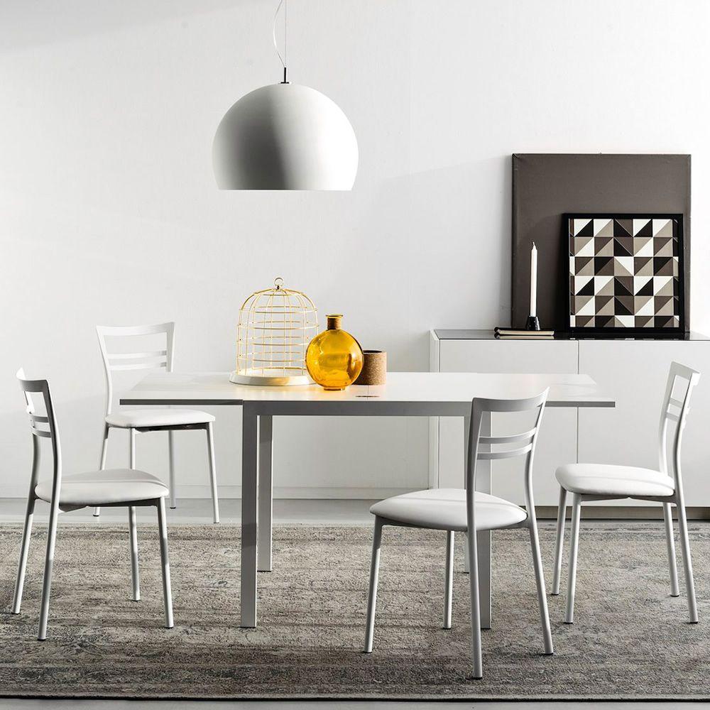 Tavolo Bianco 80x80 Allungabile.Cb4742 Lb 80 Aladino Tavolo Connubia Calligaris In Metallo Con