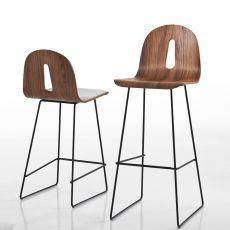Gotham Woody SG - Sgabello di design Chairs&More, in metallo con seduta in legno, altezza seduta 65 o 80 cm