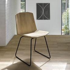 Facette - Sedia Universo Positivo in metallo con seduta in legno