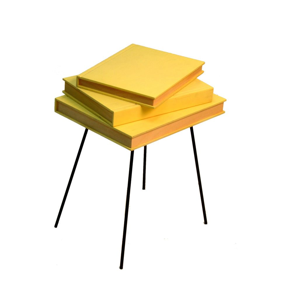 Table basse plateau jaune for Plateau table