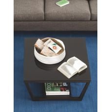 CB5043 Element - Connubia - Calligaris wooden coffee table, glass top 80x80 cm, different finishes available