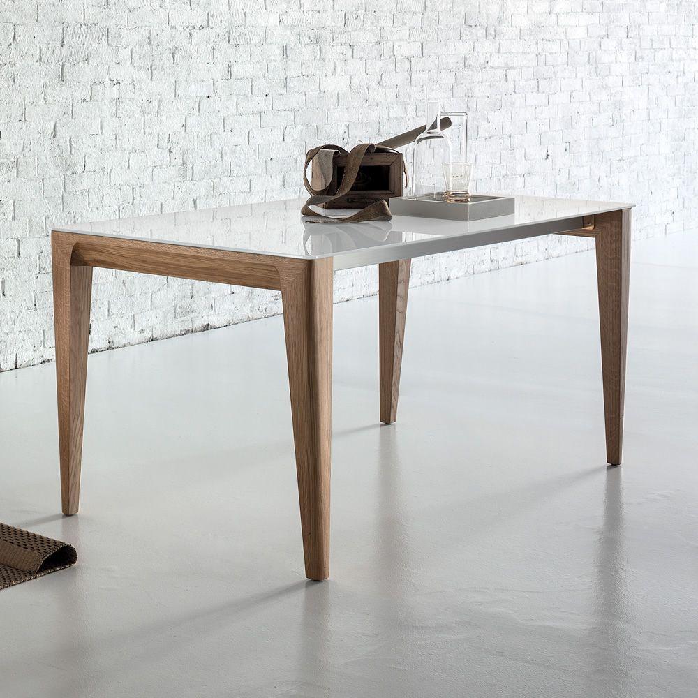 Anassimene tavolo di design in legno fisso o for Piano tavolo vetro