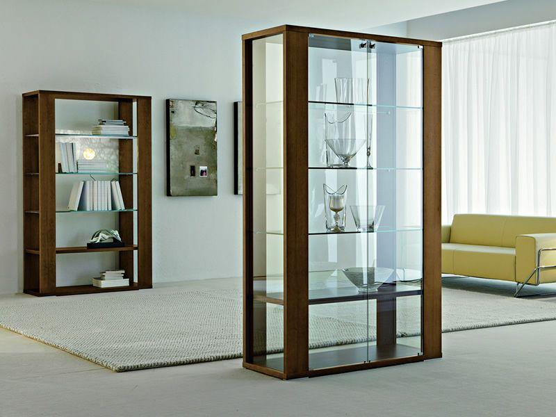 Aurora 6252 Vitrine Tonin Casa en verre et bois, en différentes finitions, 110 x 45 cm, avec  # Vitrine Verre Et Bois