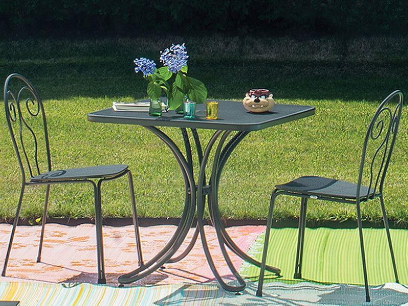 Florence mesa emu de metal para jard n tapa cuadrada for Mesas para jardin