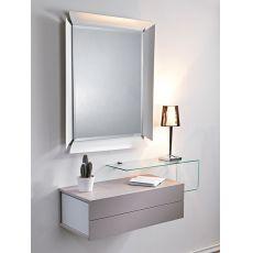 Due - Mobile ingresso con 2 cassetti, specchio e mensola in vetro