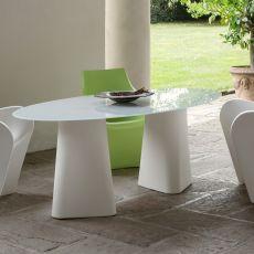Adam 200 - Tavolo di design B-Line, anche per esterno, in polietilene, con piano ovale in vetro, disponibile in diversi colori