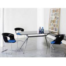 Metropolis 2405 - Tavolo design rettangolare in metallo, piano in vetro 160x90 cm