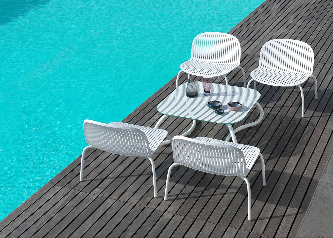 Ninfea Relax Silla Lounge De Aluminio Y Resina Apilable