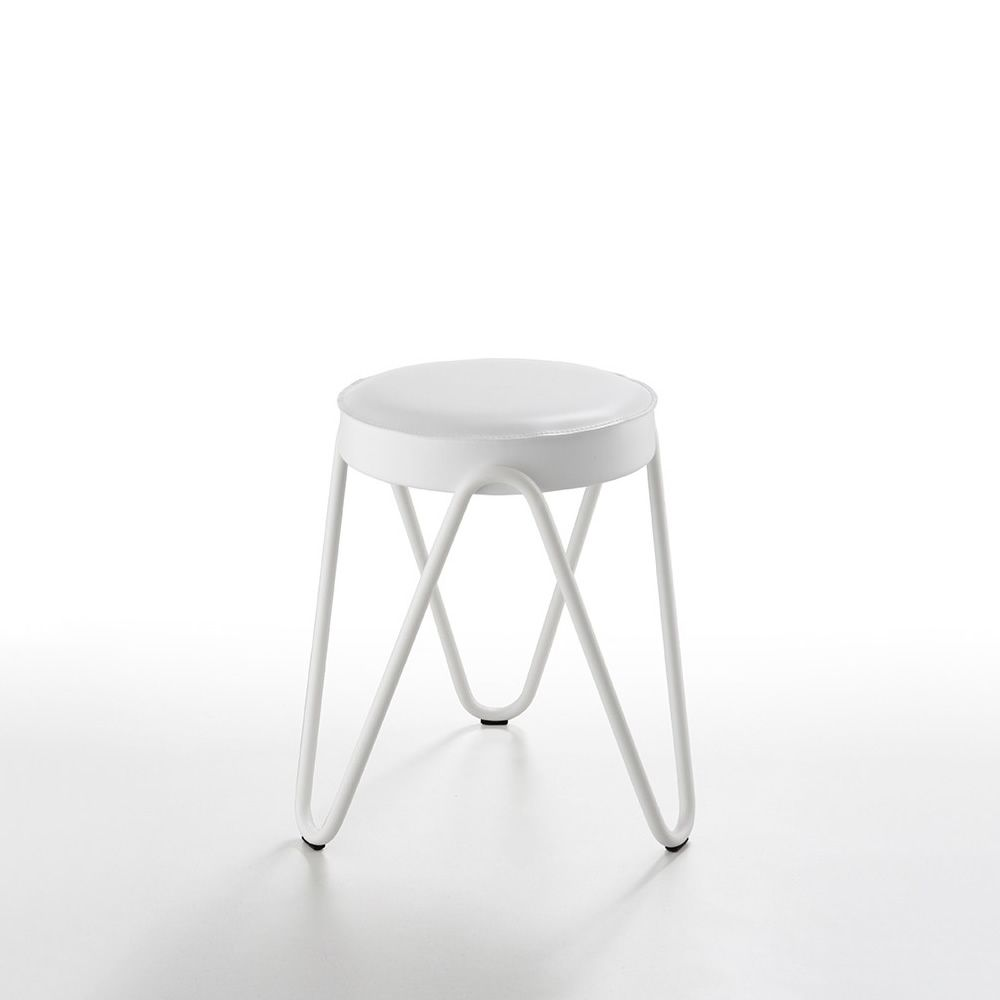 Apelle Jump H45 | Design low stool in white metal and white natural hide