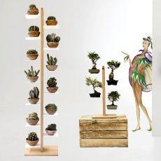 Zia Flora C - Porta vasi verticale a colonna, in legno massello, disponibile in diverse dimensioni e colori