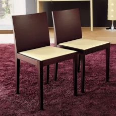 Jump - Midj chair made of wood with bonded leather seat, different colours available