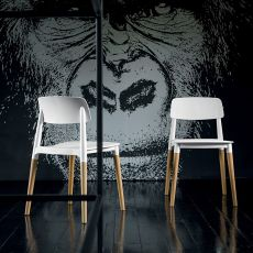 Ada - Chaise empilable Dall'Agnese en bois, assise et dossier en polypropylène blanc