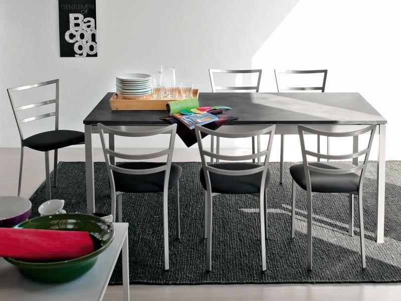 765 1 tavolo allungabile con piano in laminato cemento for Sedie struttura acciaio satinato