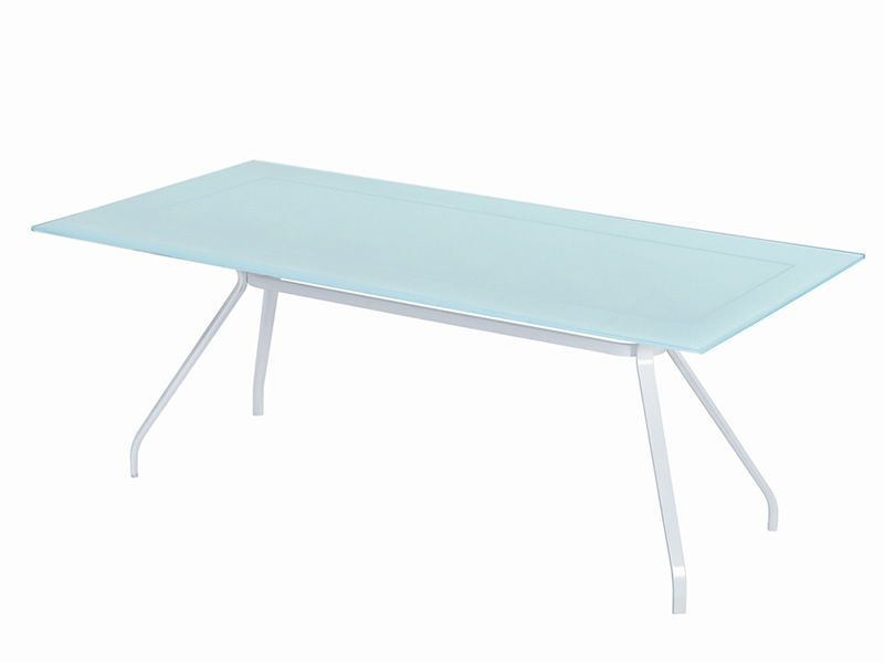 Open vt table emu en m tal 200x100 cm plateau en verre - Plateau en verre pour table ...