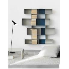 Spread M - Parete attrezzata o libreria di design in metallo, modulare, disponibile in diversi colori