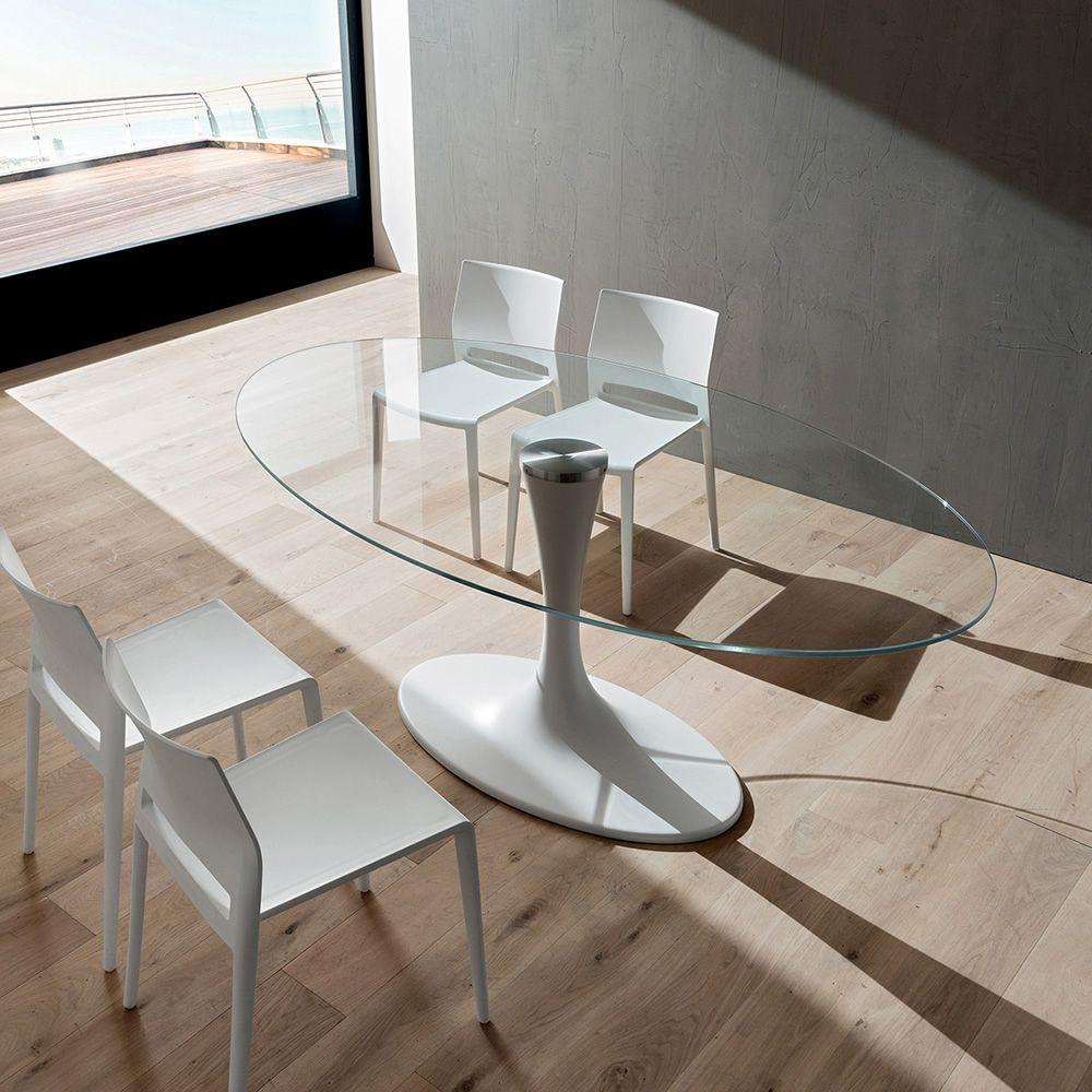 Pa133v tavolo in mineralmarmo con piano ovale 200x116 cm in vetro disponibile in diverse - Tavolo con sedie diverse ...