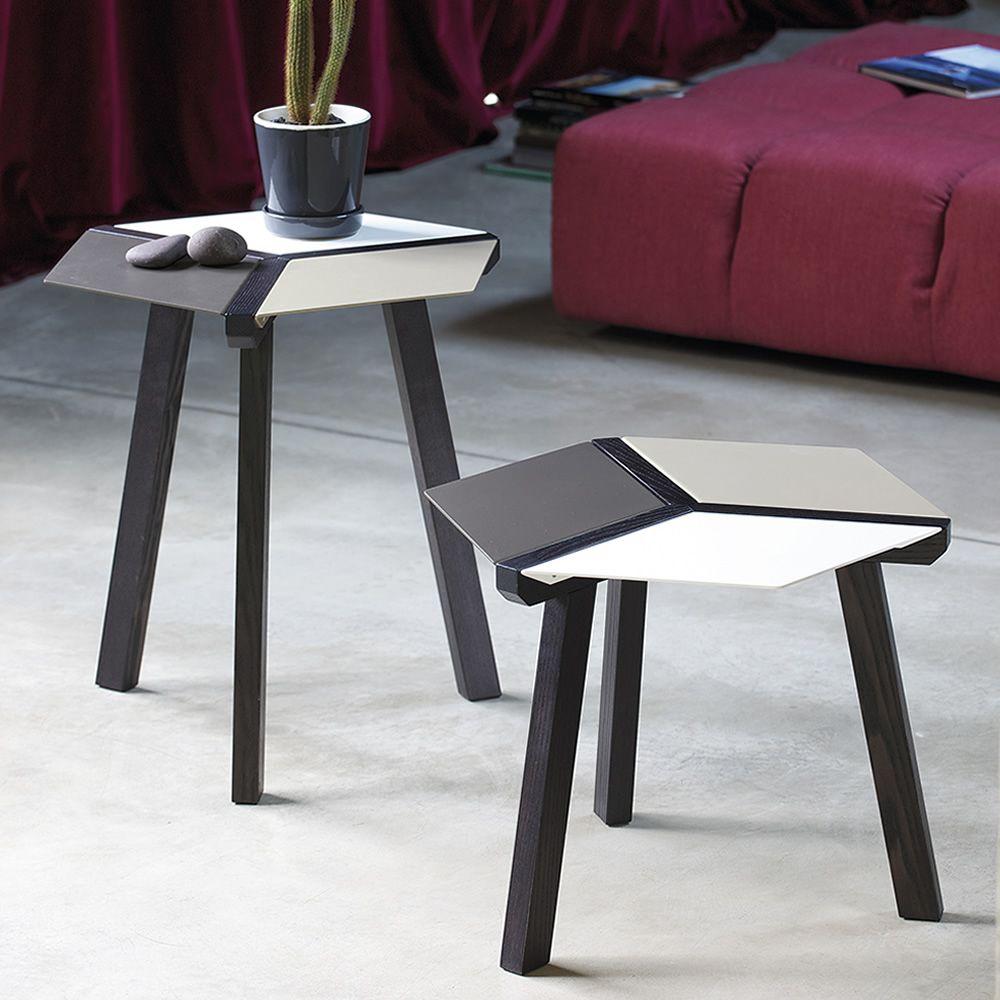 Esa - Tavolino di desing Bontempi Casa, con struttura in legno e piano in acc...