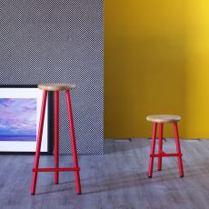 Milk - Miniforms stool in metal and wood, available in different heights