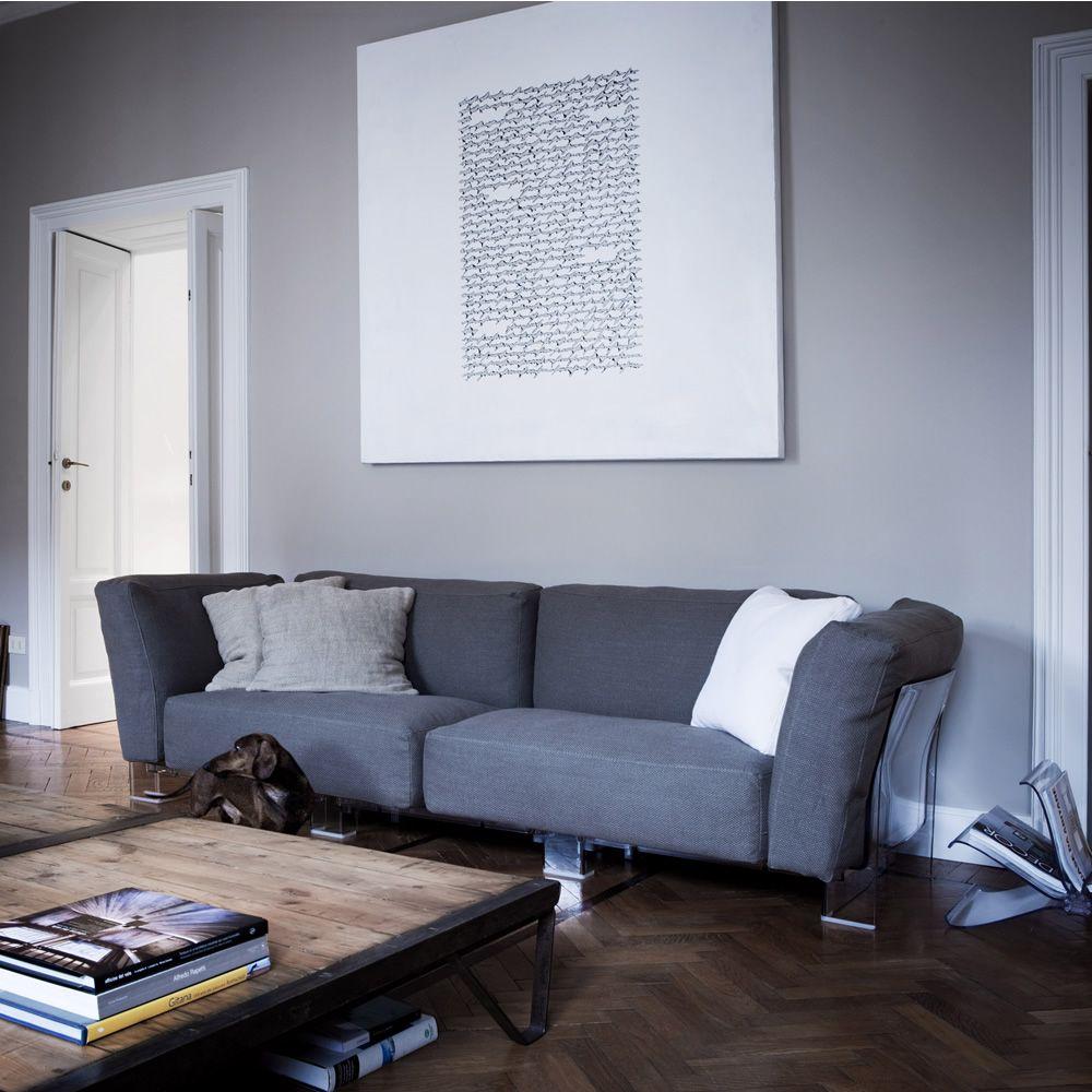 Pop duo sofa divano di design kartell 3 posti con struttura in policarbonato con - Rivestimento divano poltrone e sofa ...