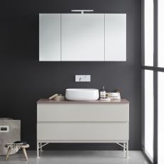 Memento D - Sink cabinet with marble top, 2 deep drawers, available in several colours