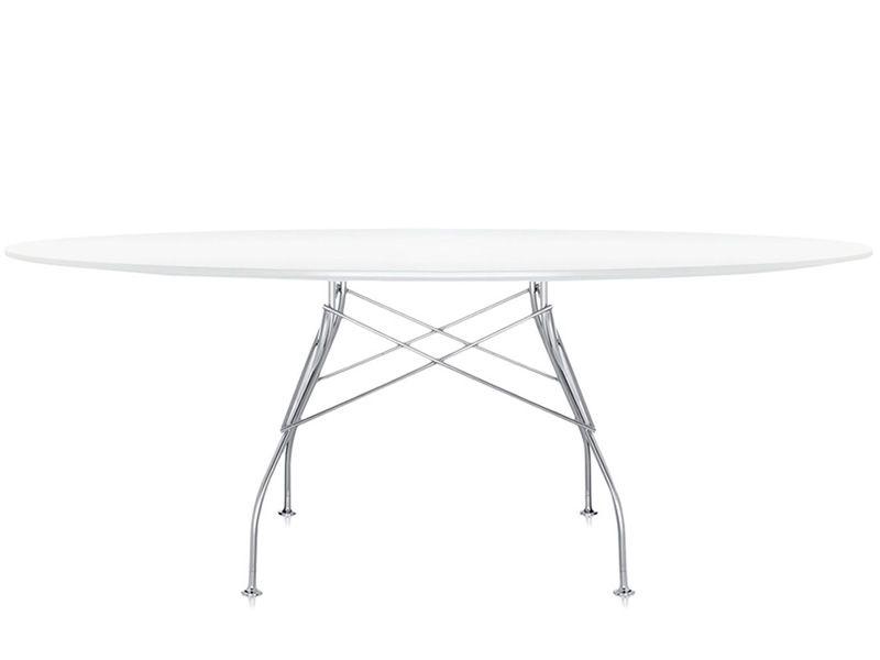 Glossy designer metalltisch kartell ovale tischplatte for Weisser tisch mit dunkler platte