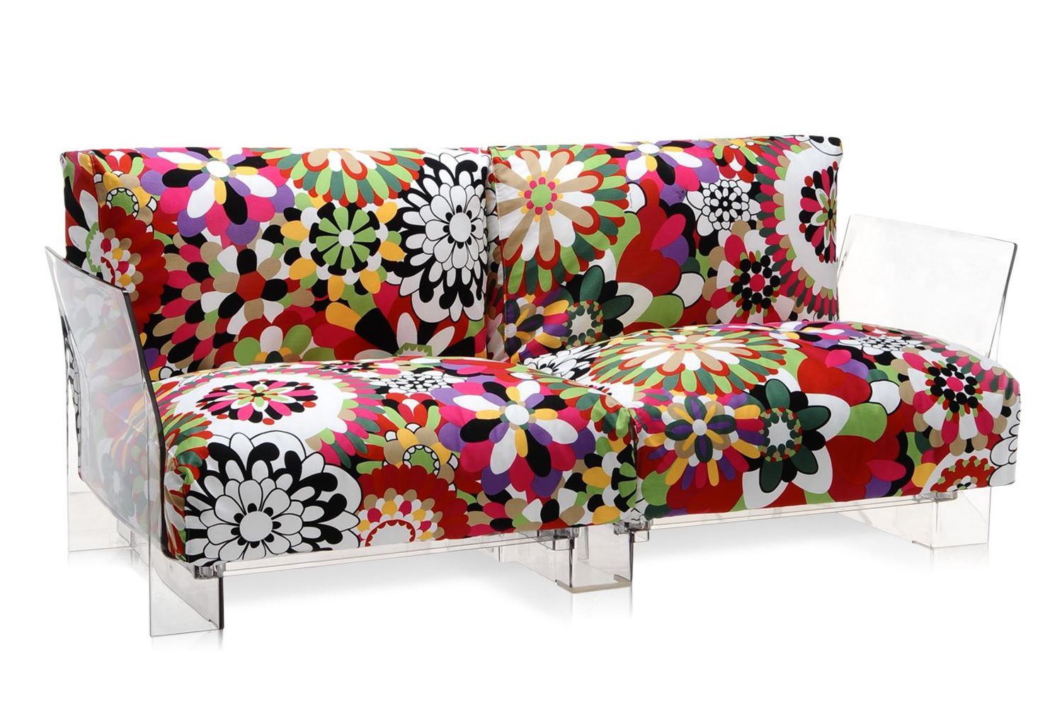 pop missoni sofa design sofa kartell  or  seats with  -  pop missoni sofa   seater sofa with transparent polycarbonatestructure and cushions covered in red