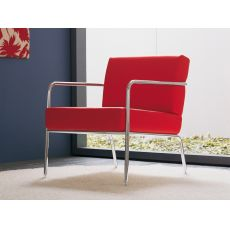 Billy - Midj metal armchair, leather, fabric or imitation leather covering, different colours