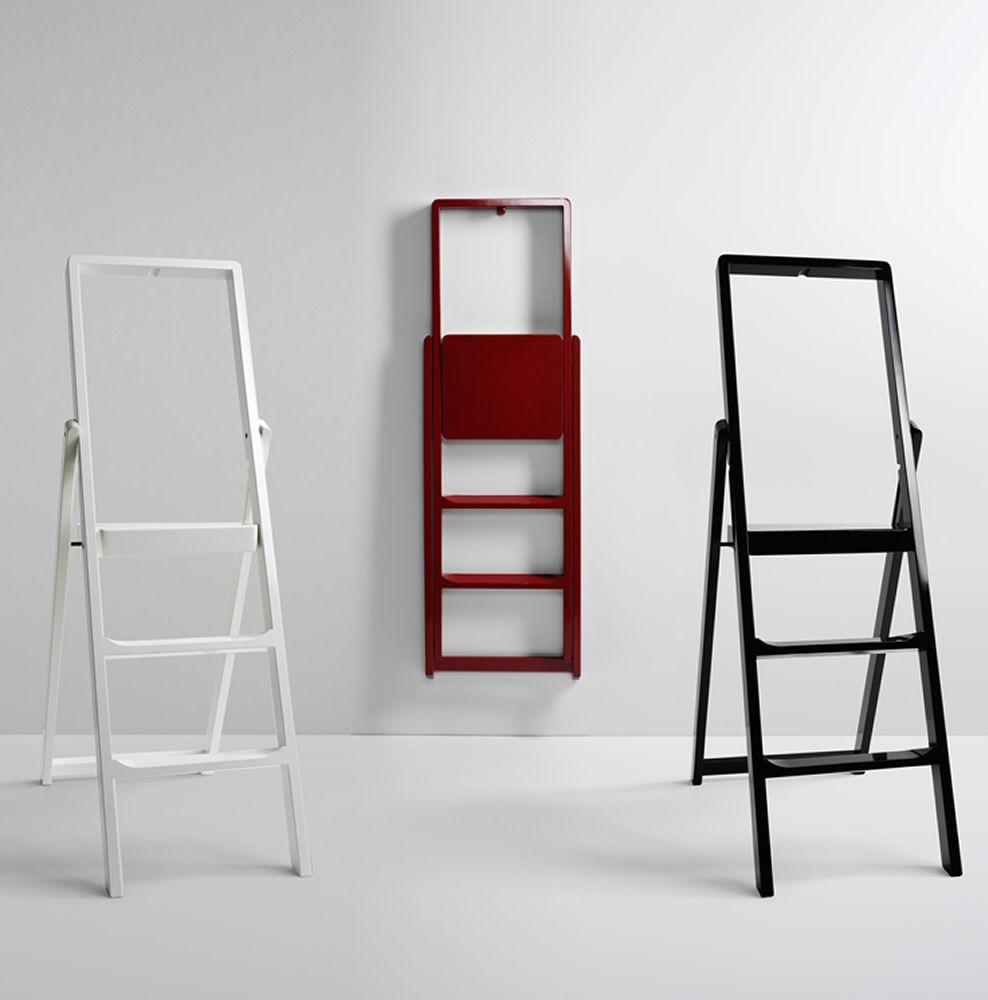 Step scala pieghevole in legno diversi colori for Arredamento bianco nero e rosso