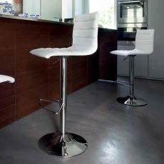 Jam-P-Sg - Sgabello girevole e regolabile Domitalia in metallo, seduta rivestita in similpelle o tessuto